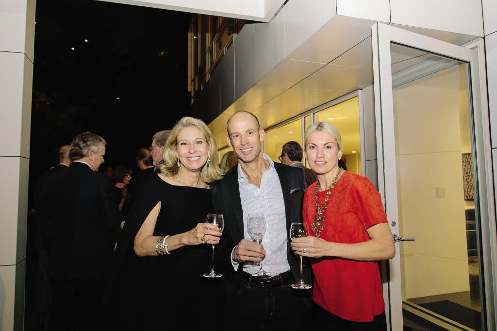 Cindy Rachofsky, John Runyon, Lisa Runyon at the Krug Journey Dallas dinner with chef Grant Achatz at the Rachofsky House in 2015 (John Thompson/Special Contributor)
