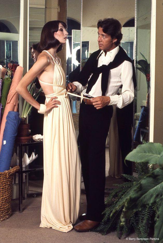 Halston, the fashion designer, with Anjelica Huston