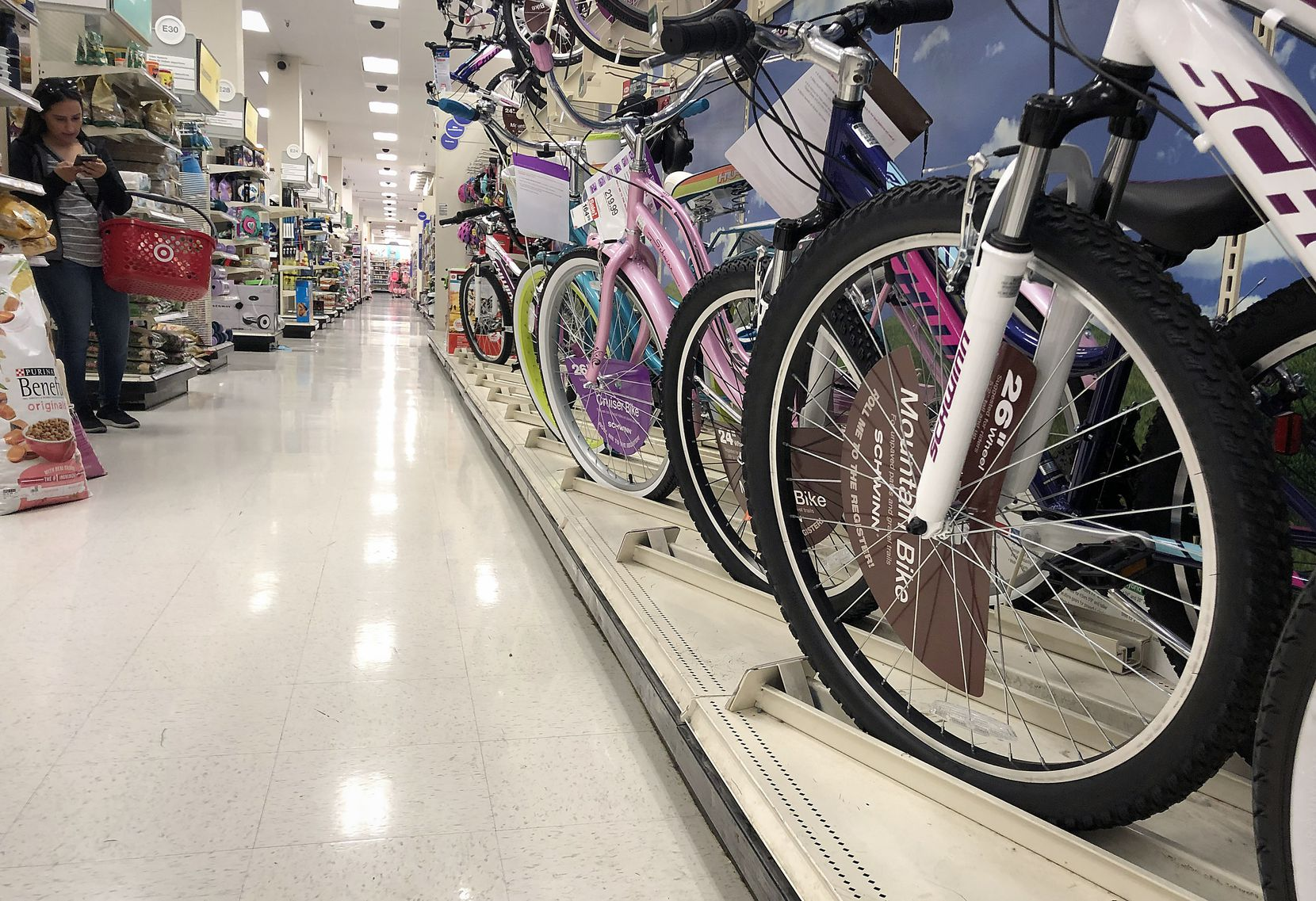 Bicycles produced in China are lined up for sale in a Target store on May 13, 2019 in Los Angeles, California. Prices on many goods imported from China, including bicycles, are likely to rise as President Trump enacted new tariffs on $200 billion worth of Chinese products.