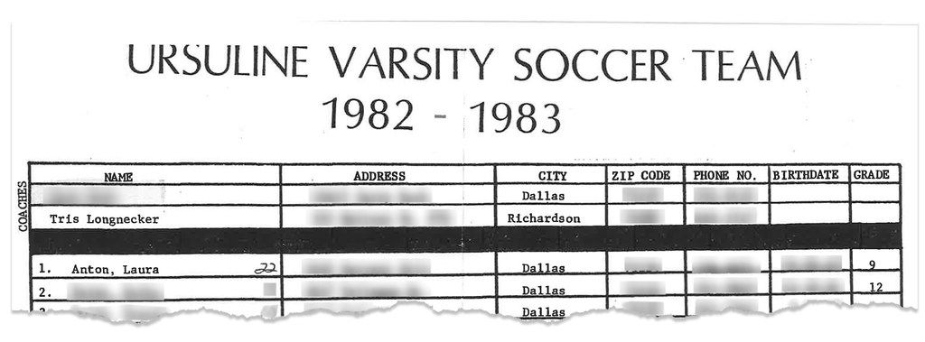 Tristan Longnecker coached girls soccer at Ursuline Academy of Dallas in the 1980s. Laura Anton, who says Longnecker sexually abused her, was one of the team's star players. As a junior, she scored 50 goals, a feat so noteworthy it was featured in Sports Illustrated.