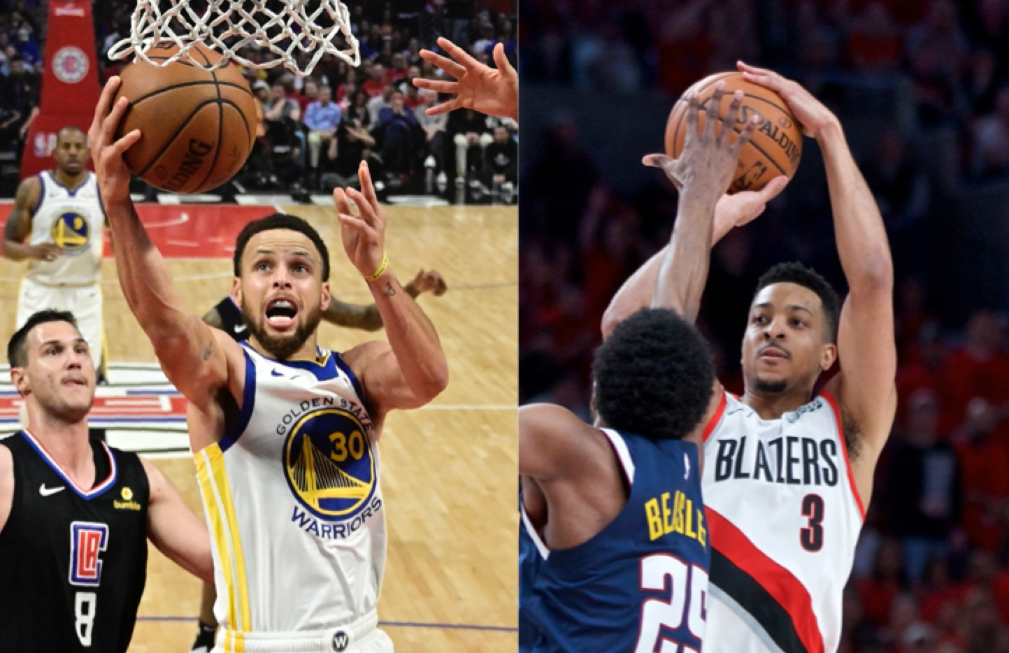 Stephen Curry de los Warriors de Golden State y CJ McCollum de los Blazers de Portland. AP
