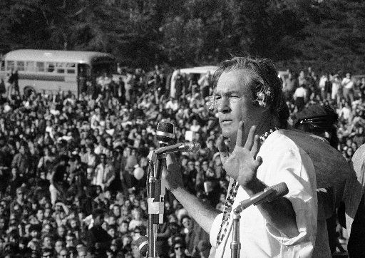 "Timothy Leary addresses a crowd of hippies at the ""Human Be-In"" that he helped organize in Golden Gate Park in San Francisco on Jan. 14, 1967."