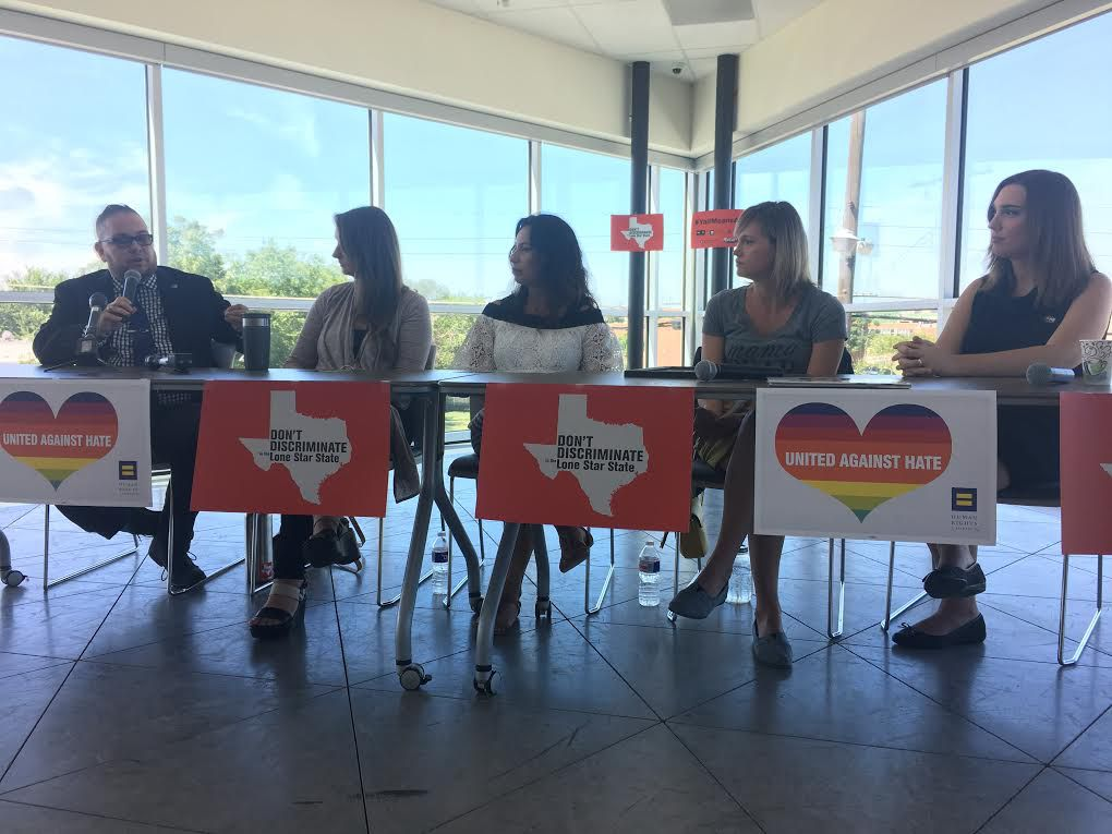 Lou Weaver, the transgender program coordinator for Equality Texas, helped moderate the panel on Wednesday morning. From left: Lou Weaver, Rachel Gonzales, Angela Castro, Amber Briggle, and Sarah McBride