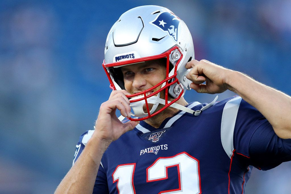 FOXBOROUGH, MASSACHUSETTS - AUGUST 29: Tom Brady #12 of the New England Patriots looks on before the preseason game between the New York Giants and the New England Patriots at Gillette Stadium on August 29, 2019 in Foxborough, Massachusetts. (Photo by Maddie Meyer/Getty Images)
