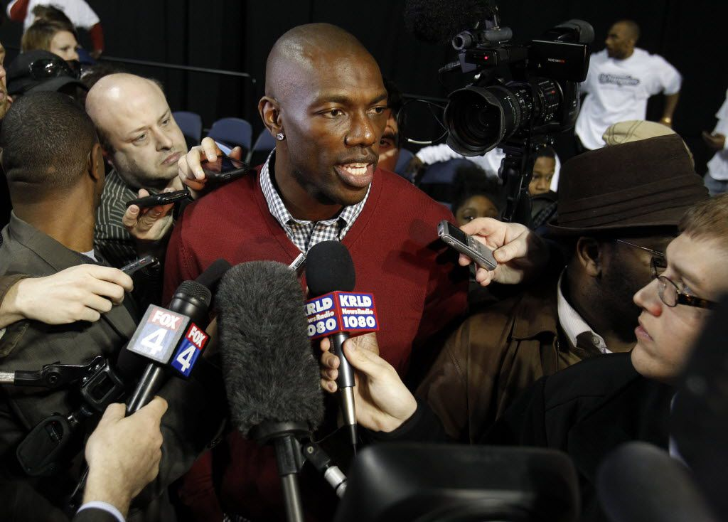 Terrell Owens answers questions from the media at Allen Events Center in Allen, on February 8, 2012. (Vernon Bryant/The Dallas Morning News)