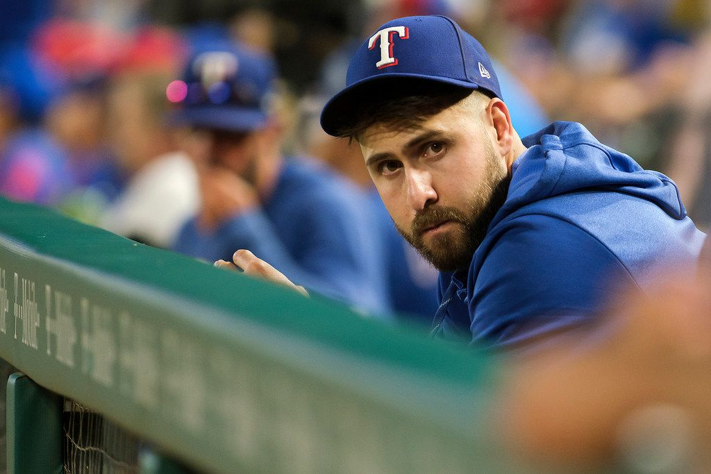 Injured Texas Rangers outfielder Joey Gallo watches from the dugout during the sixth inning against the Seattle Mariners at Globe Life Park on Wednesday, July 31, 2019, in Arlington. (Smiley N. Pool/The Dallas Morning News)