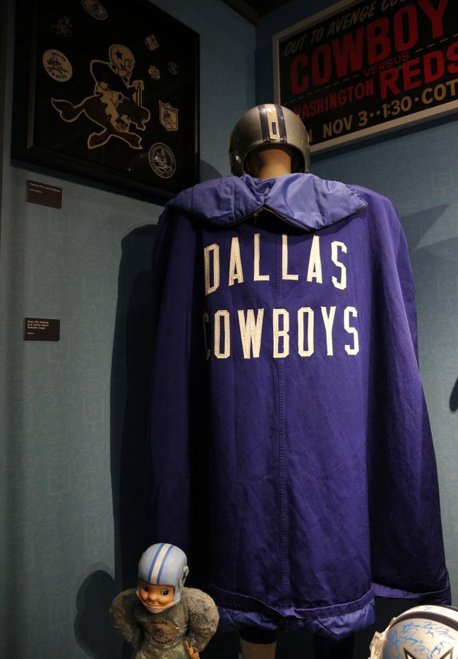 Bob Lilly's 1960's helmet and game worn sideline cape, part of the Eye of the Collector exhibit at the Perot Museum of Nature and Science in Dallas on April 14, 2016.