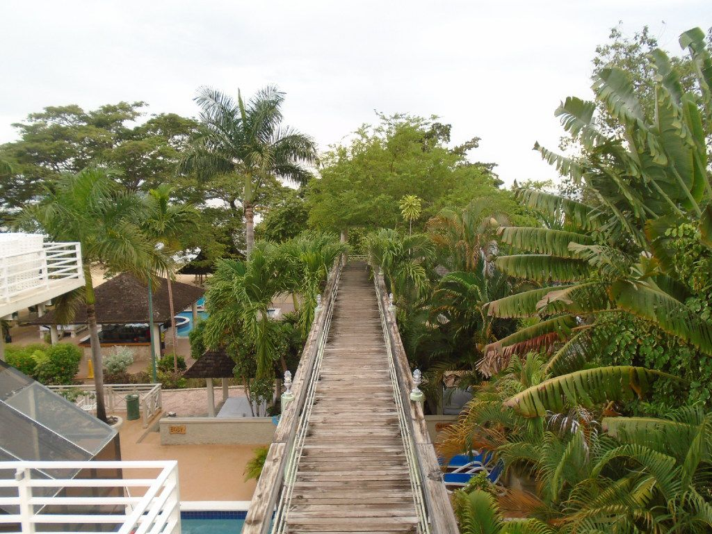 A long boardwalk leads from the grounds of Hedonism II to a beautiful Caribbean beach on the west coast of Jamaica.