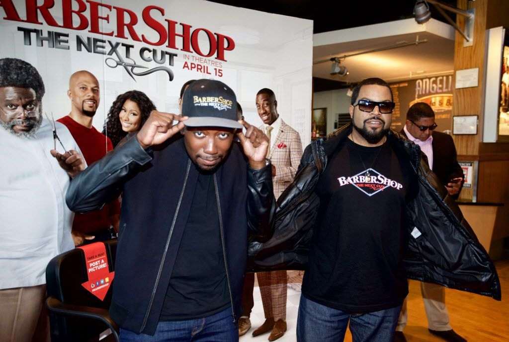"""Actors Lamorne Morris, left, and O'Shea Jackson, known by his stage name Ice Cube, pose for photos on the red carpet before a screening of """"Barbershop, The Next Cut"""" at the Angelika Monday, March 21, 2016. (Brandon Wade/Special Contributor)"""