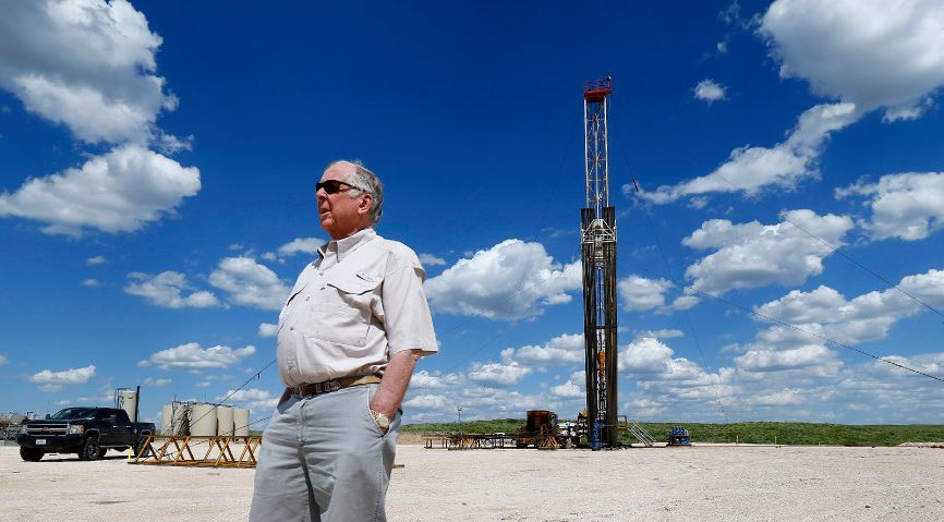 Businessman T. Boone Pickens visits one of his oil drilling sites on the Mesa Vista Ranch in the Panhandle.