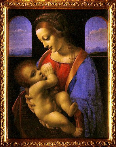 The Madonna and Child (1490-1491), widely attributed to  Leonardo da Vinci is seen at the Quirinale Palace in Rome in November, 2003. The painting was acquired by the St. Petersburg Hermitage Museum from Count Antonio Litta in 1865