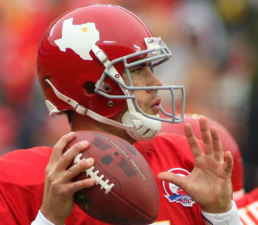 Kansas City Chiefs quarterback Matt Cassel warms up before an October 2009 game against the Dallas Cowboys at Arrowhead Stadium in Kansas City, Mo. The Chiefs' throwback uniforms for the game dated to the franchise's origin as the Dallas Texans in the early 1960s.