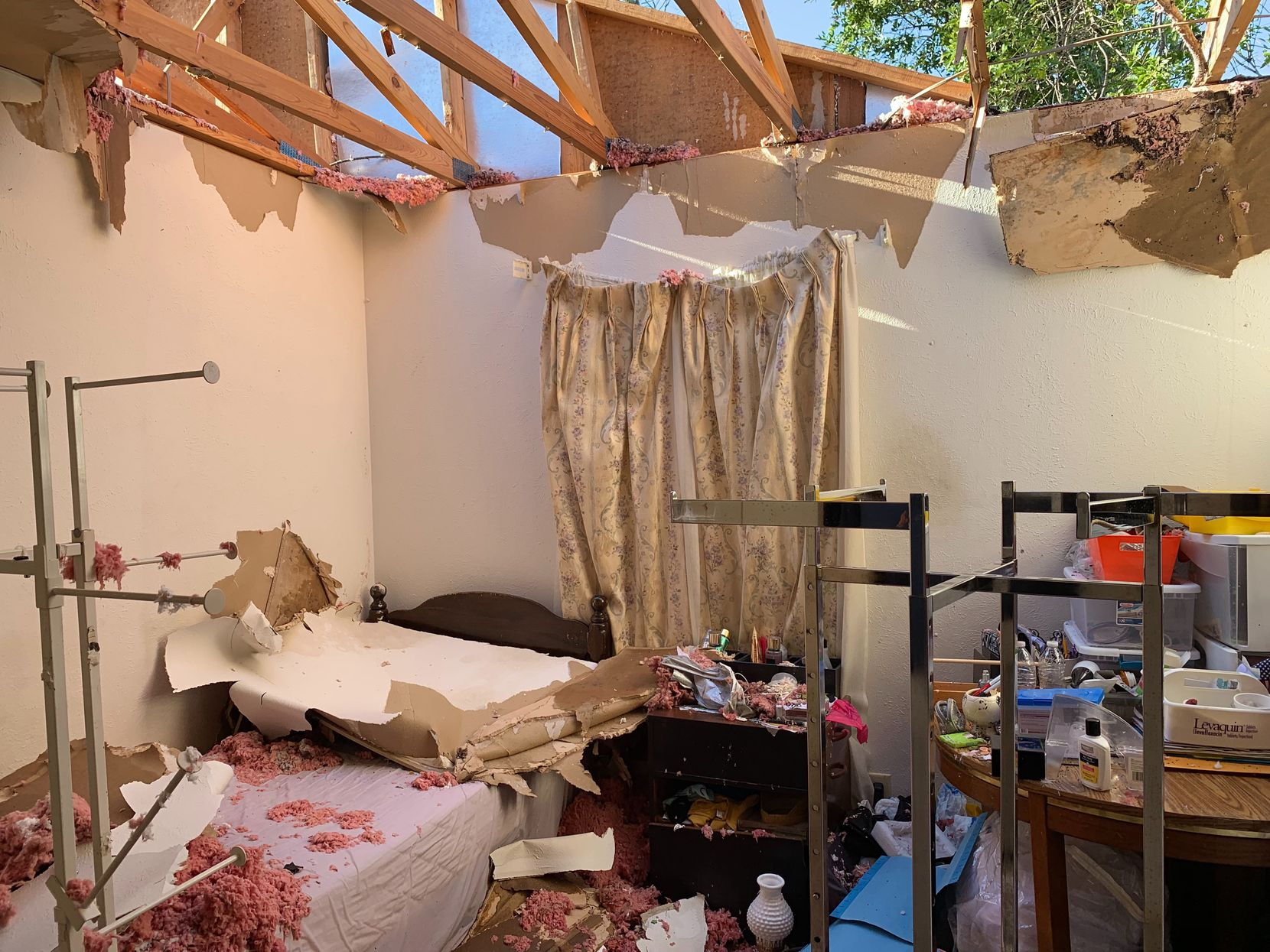 A tornado destroyed the Richardson home of Gizaw Gedlu, 71, where he lives with his sister Mena.