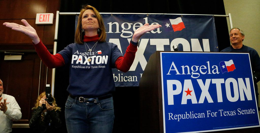 Angela Paxton acknowledged the applause of supporters at her election return party at the Marriott Courtyard in Allen last spring.