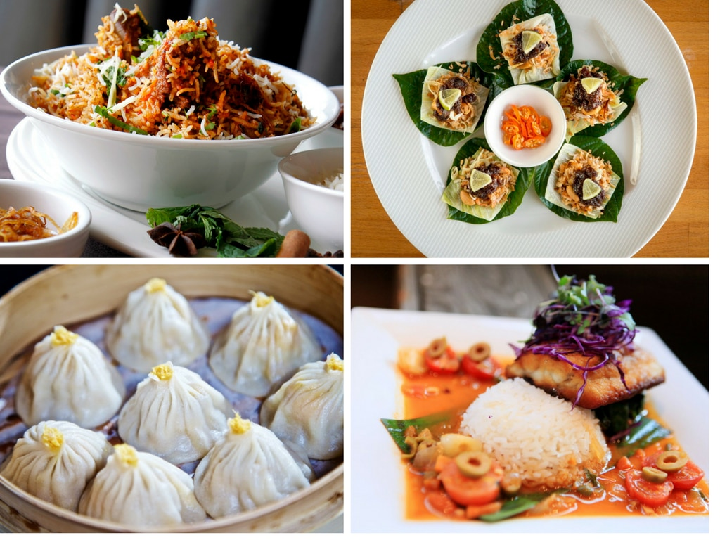 Clockwise from top left: Goat biryani at Mughlai Fine Indian Cuisine; miang kham at Bambu Thai-Asian Cuisine; xia long bao at Fortune House; huachinango Veracruzana at Mesa Veracruz Coastal Cuisine