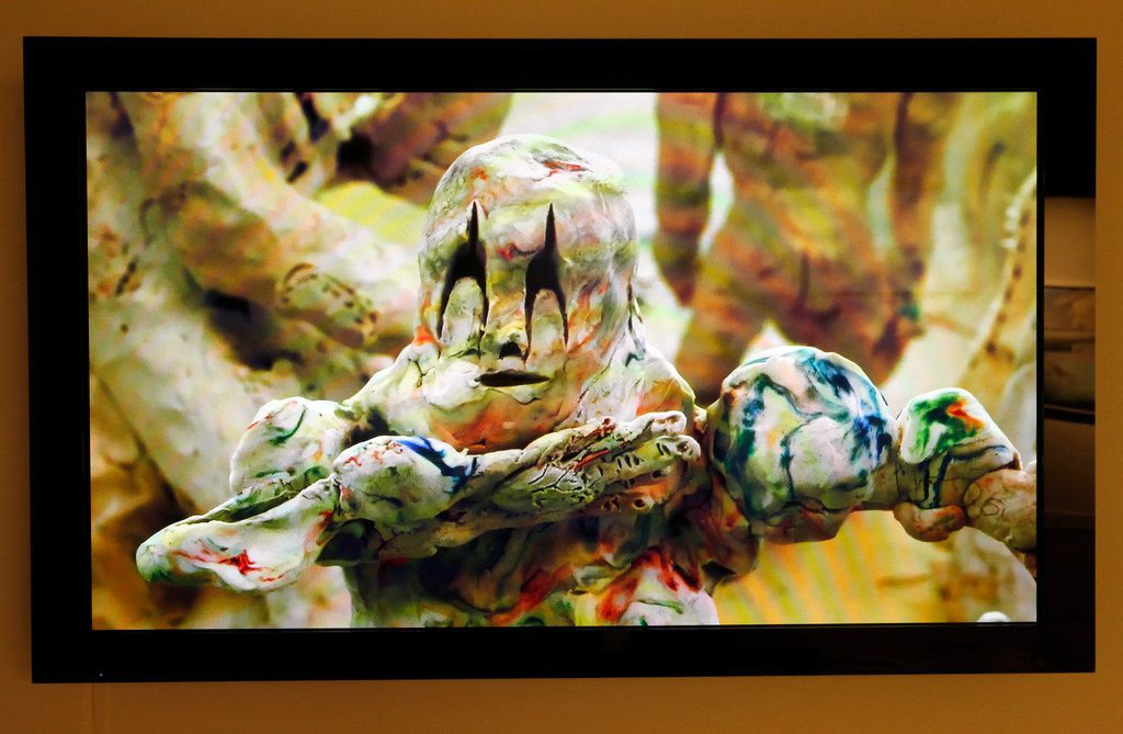 Artist Allison Schulnik's clay-animated, stop-motion video piece is on display in the Dallas Medianale show at The MAC gallery in Dallas May 23, 2019.