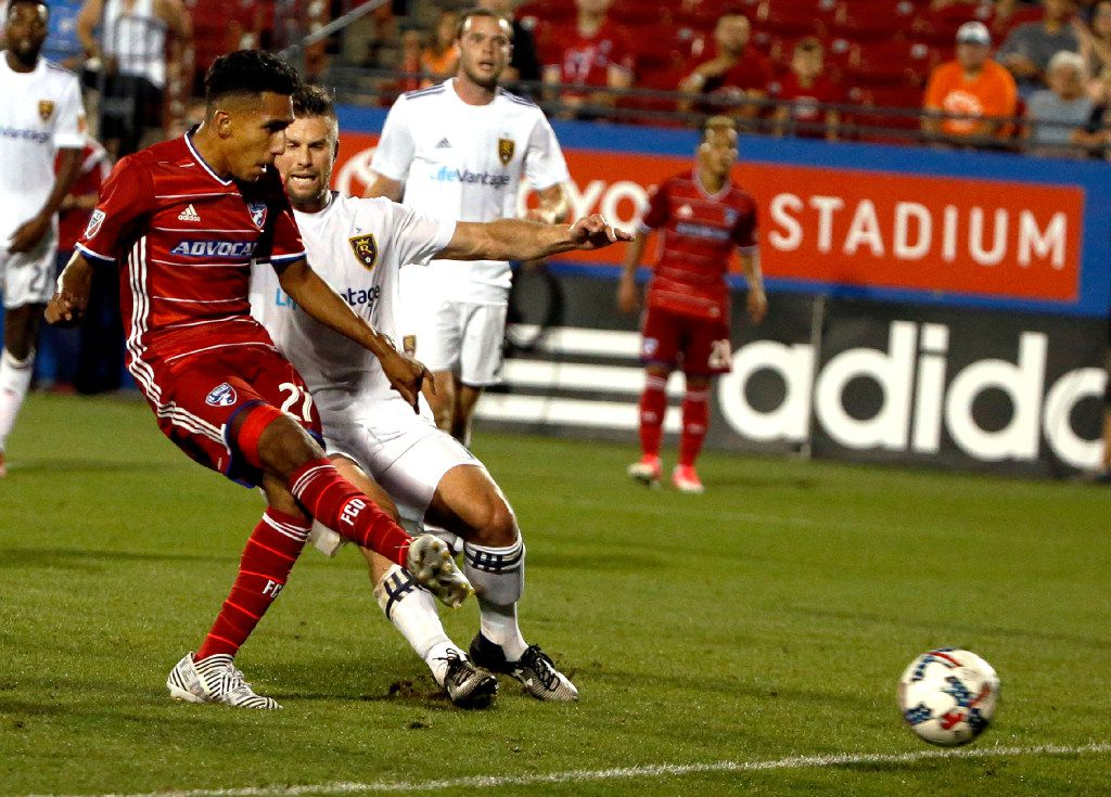 FILE - FC Dallas forward Jesus Ferreira (27, left), age 16, scores his first-ever goal -- making him the youngest player in team history to score -- during a game between FC Dallas and Real Salt Lake at Toyota Stadium in Frisco on June 3, 2017. (Tailyr Irvine/The Dallas Morning News)