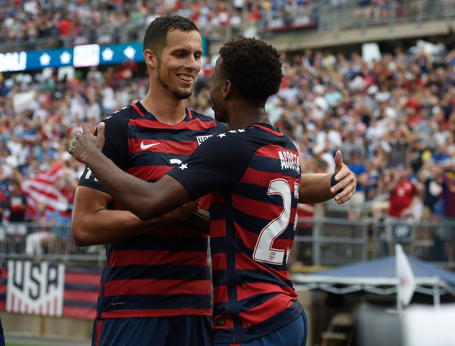 United States' Matt Hedges, left, and Kellyn Acosta, right, during an international friendly soccer match against Ghana at Pratt & Whitney Stadium at Rentschler Field, Saturday, July 1, 2017, in East Hartford, Conn. (AP Photo/Jessica Hill)