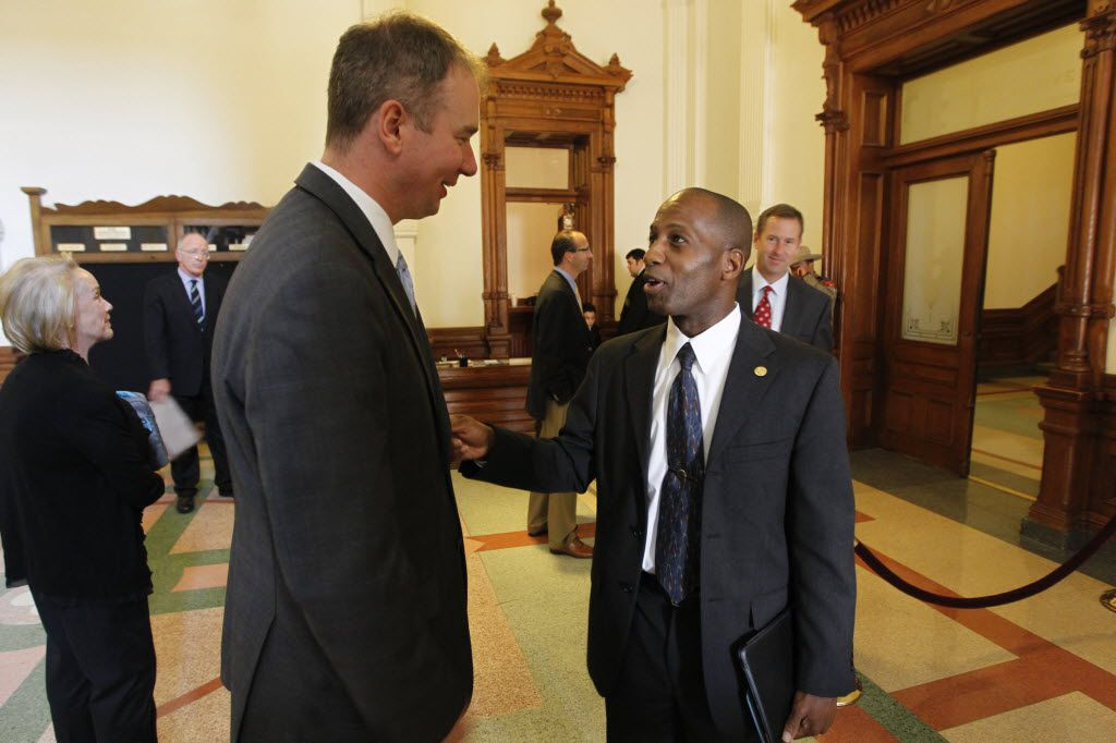 FILE PHOTO  -- Michael Quinn Sullivan talks with Rep. James White, R-Hillister at the State Capitol in Austin, TX Friday May 27, 2011.