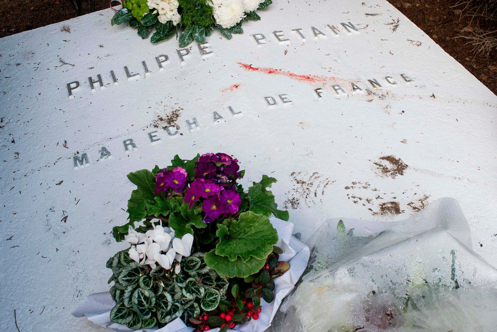 The tomb of French Marechal Philippe Petain, in the cemetery of l 'Ile-d'Yeu in western France, was vandalized during the night of Nov. 11, 2018.