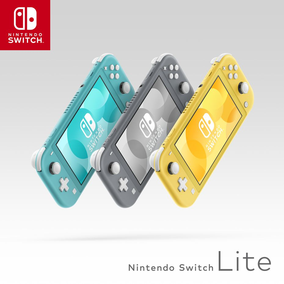 Artwork depicting the launch lineup of Nintendo Switch Lite model colors.