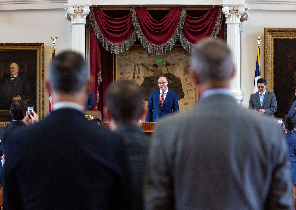 House Speaker Dennis Bonnen listens to the representatives at the back microphone as they prepare for Sine Die at the State Capitol of Texas on May 27, 2019 in Austin, Texas.