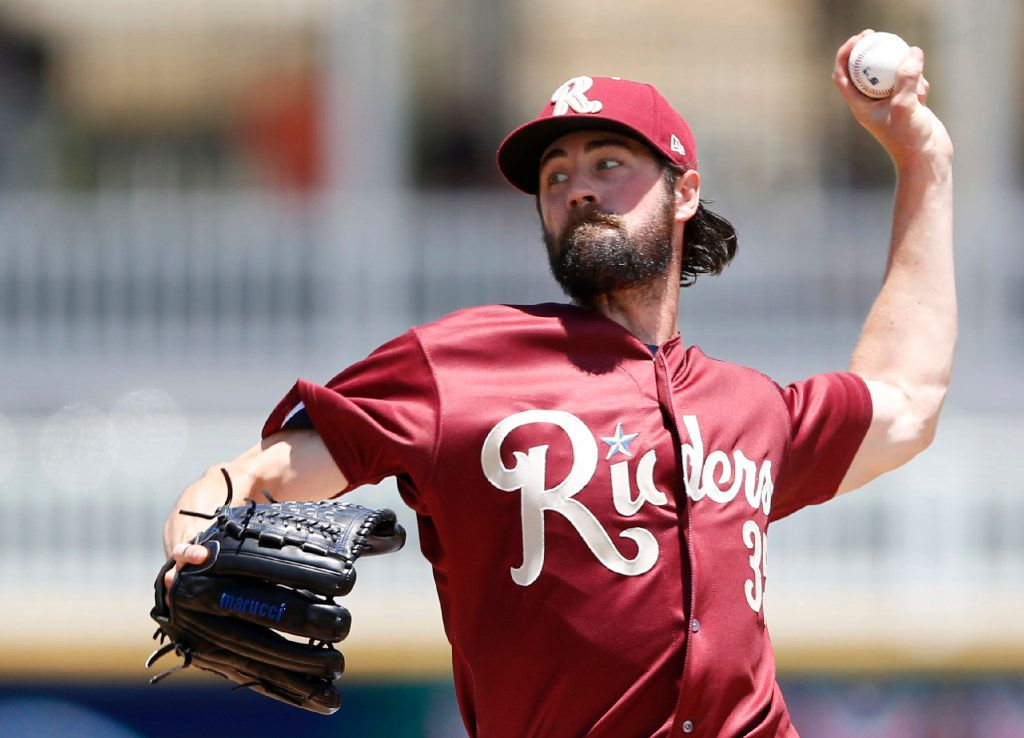 Texas Rangers starting pitcher Cole Hamels (35) pitches in a game against the Midland RockHounds in a rehab assignment for the Frisco RoughRiders during the third inning of play at Dr Pepper Ballpark in Frisco on Wednesday, June 21, 2017. (Vernon Bryant/The Dallas Morning News)
