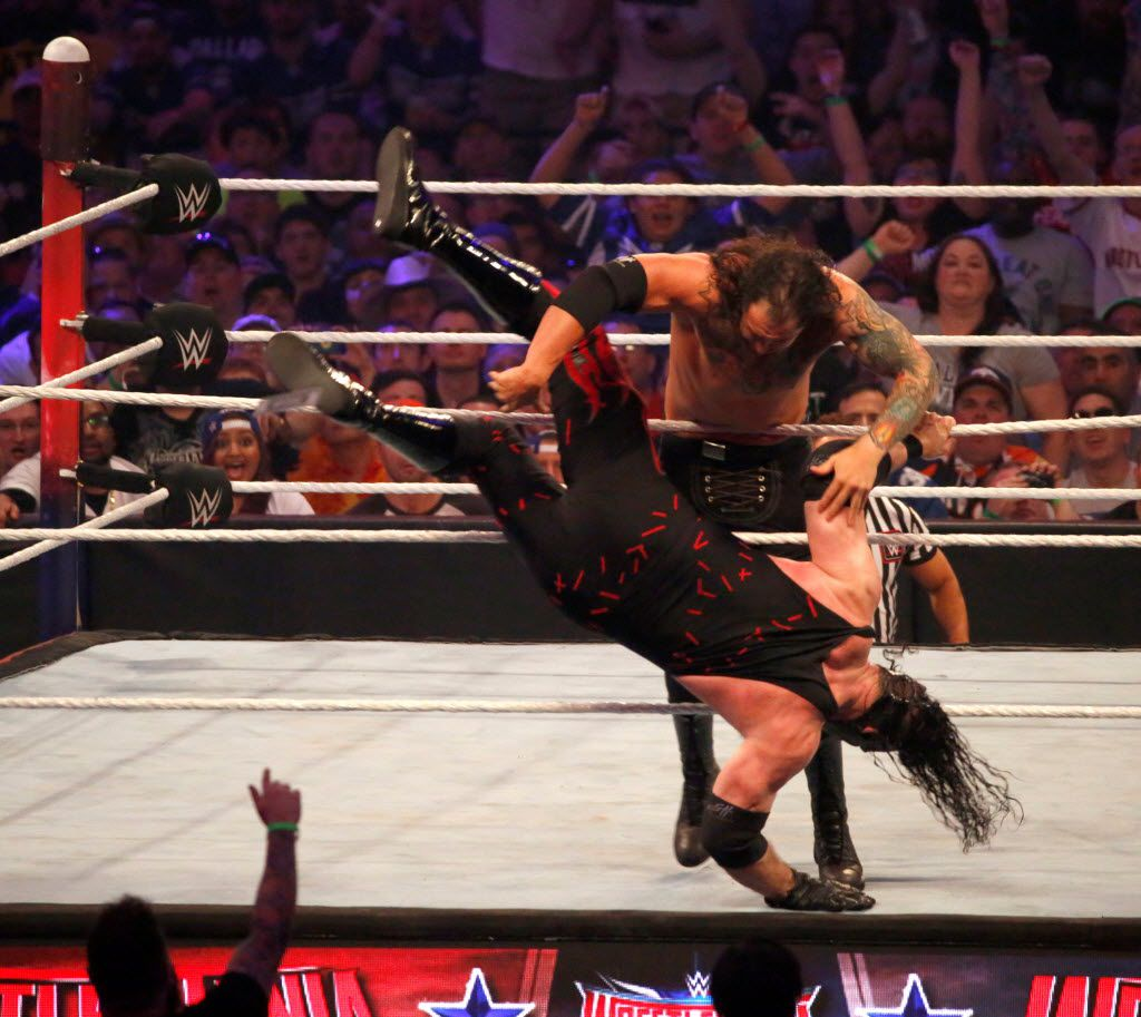 Baron Corbin eliminates Kane to win the Andre the Giant Battle Royal during WrestleMania 32 at AT&T Stadium in Arlington, TX, Sunday, April 3, 2016. (David Guzman/The Dallas Morning News)