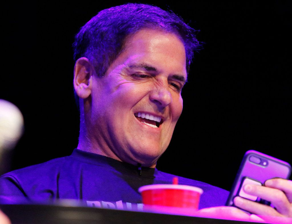 Mark Cuban cast his vote at the end of Fight No. 3 at Digital Fight Club at the Granada Theater on Aug. 23, 2017. He was one of the judges or fight referees, and the topic was digital storytelling.