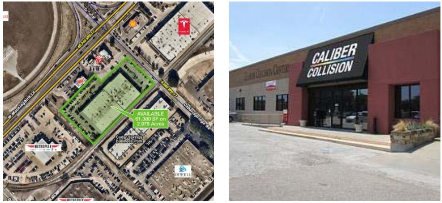 CBRE is marketing the empty former Caliber Collision building just south of Love Field.