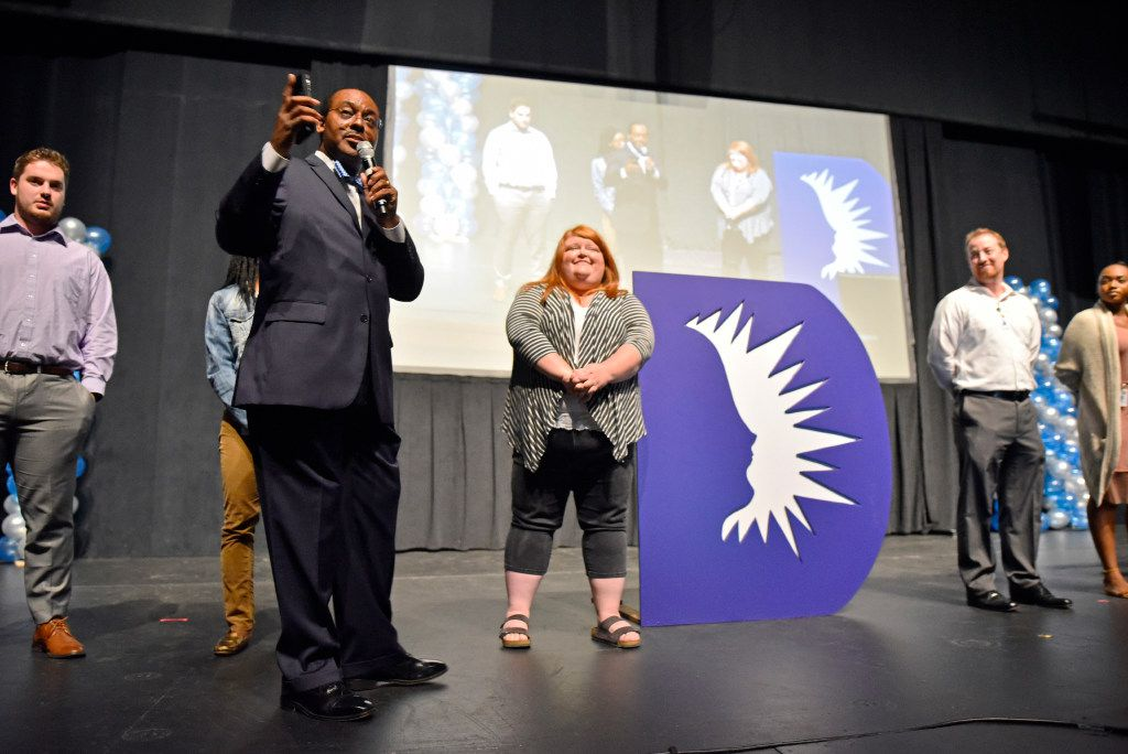 Dallas ISD trustee Lew Blackburn (left) conducts a presentation with new teachers during the Dallas Independent School District's welcome event for first-year teachers on Aug. 8, 2017, at Fair Park.