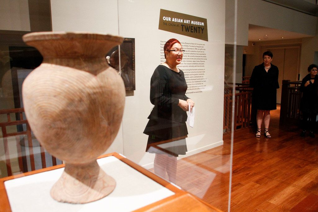 Senior Curator of Asian Art, Jacqueline Chao, talks to members of the media in Our Asian Art Museum The Crow at 20 exhibit at the Crow Museum of Asian Art in Dallas on Wednesday, September 26, 2018. (Brian Elledge/The Dallas Morning News)