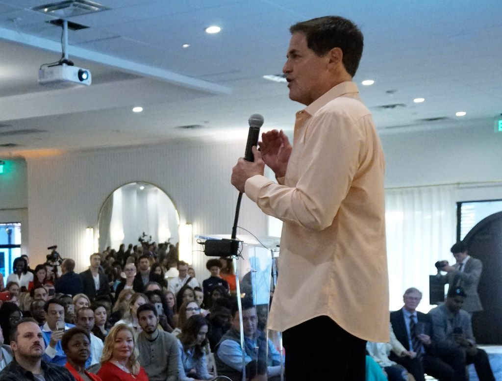 Dallas Mavericks owner Mark Cuban speaks at The Hall of Dragon during Start Up Week in Dallas on April 2, 2019.