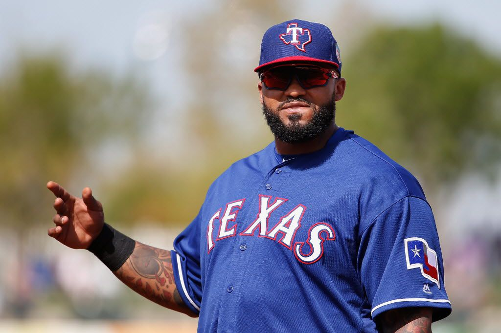 SURPRISE, AZ - MARCH 02:  Infielder Prince Fielder #84 of the Texas Rangers reacts during the cactus leauge spring training game against the Kansas City Royals at Surprise Stadium on March 2, 2016 in Surprise, Arizona.  (Photo by Christian Petersen/Getty Images)