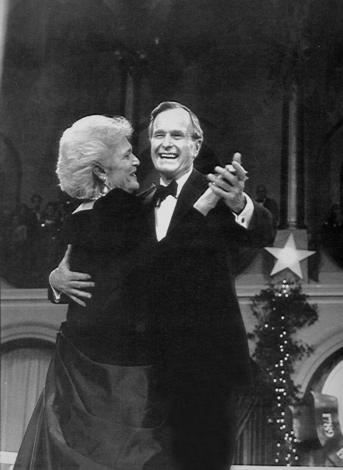 President George H.W. Bush and his wife, Barbara, dance at his inaugural ball in Washington, Jan. 20, 1989. Bush, the 41st president of the United States and the father of the 43rd, who steered the nation through a tumultuous period in world affairs but was denied a second term after support for his presidency collapsed under the weight of an economic downturn and his seeming inattention to domestic affairs, died on Nov. 30, 2018. He was 94.