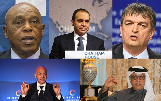 Los cinco candidatos a presidente de la FIFA. Fotos GETTY IMAGES