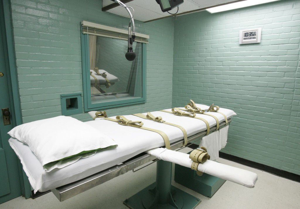 The gurney in Huntsville where Texas' condemned are strapped down to receive a lethal dose of drugs. (File Photo/The Associated Press)