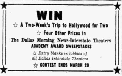 An advertisement in the March 5, 1956 edition of The Dallas Morning News for the Academy Award Sweepstakes.