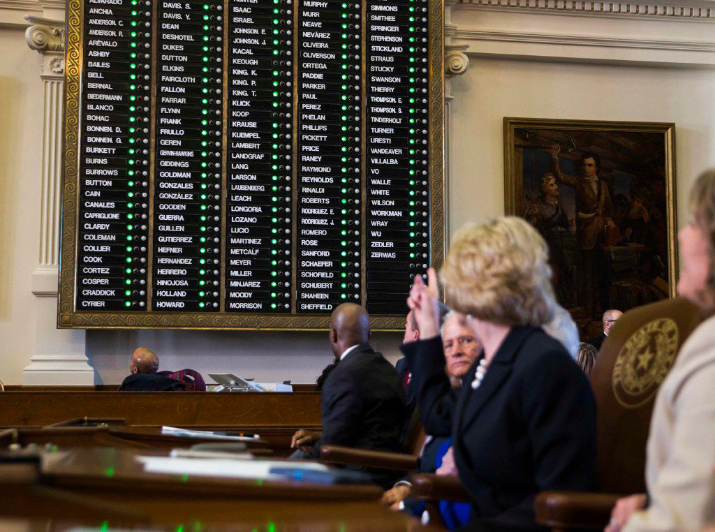 File photo of voting board in the Texas House at the Texas State Capitol in Austin, Texas.