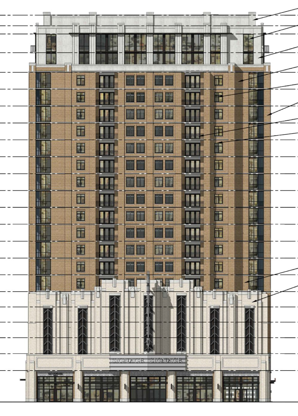 The revamp tower design has an art deco inspired front.