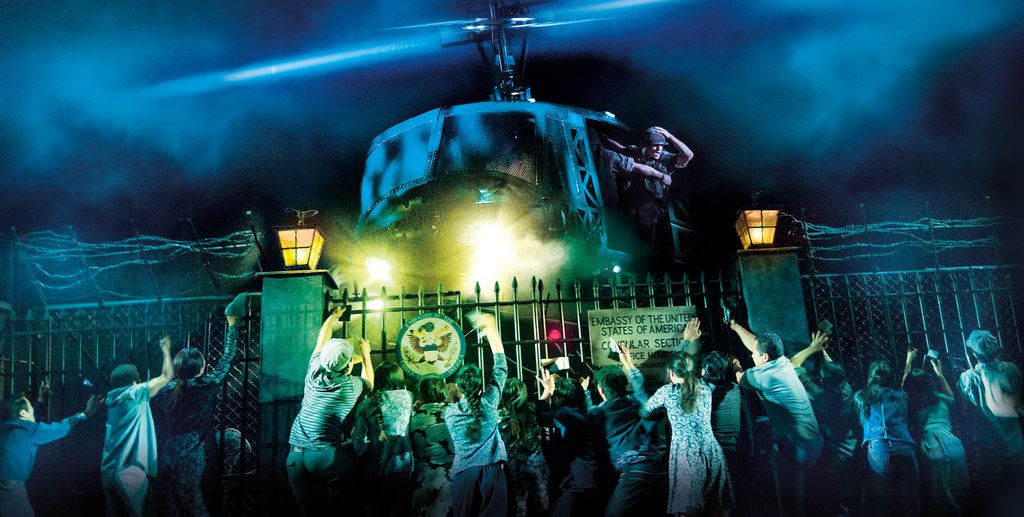 The helicopter scene in Miss Saigon, playing in May 2019 at the Music Hall at Fair Park. It is a Dallas Summer Musicals production.