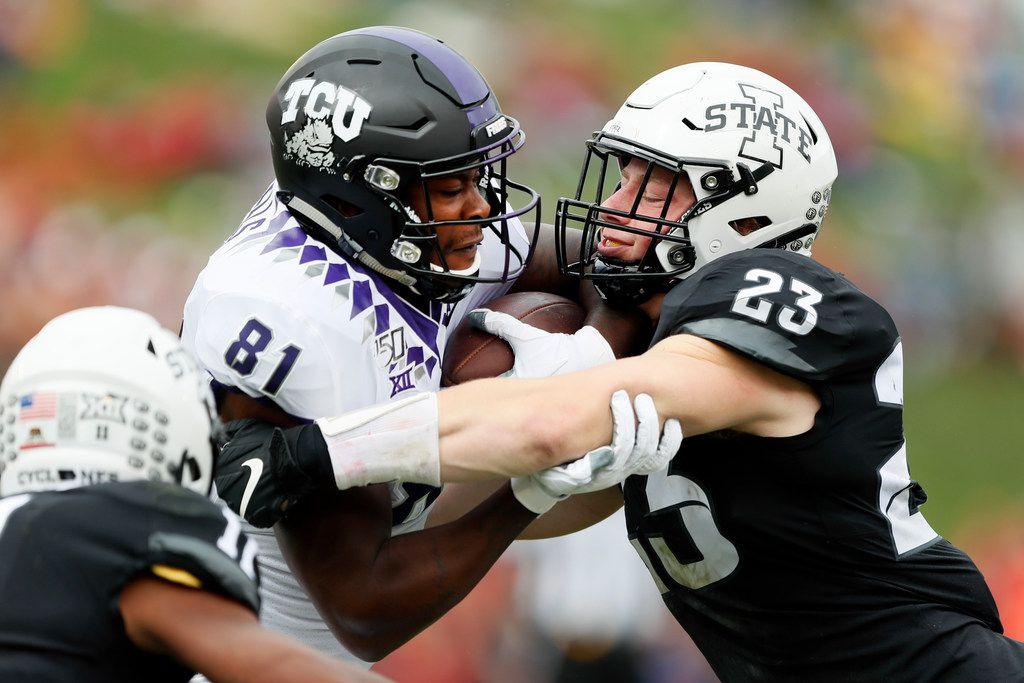 TCU tight end Pro Wells (81) is tackled by Iowa State linebacker Mike Rose (23) after catching a pass during the first half of an NCAA college football game, Saturday, Oct. 5, 2019, in Ames, Iowa. (AP Photo/Charlie Neibergall)