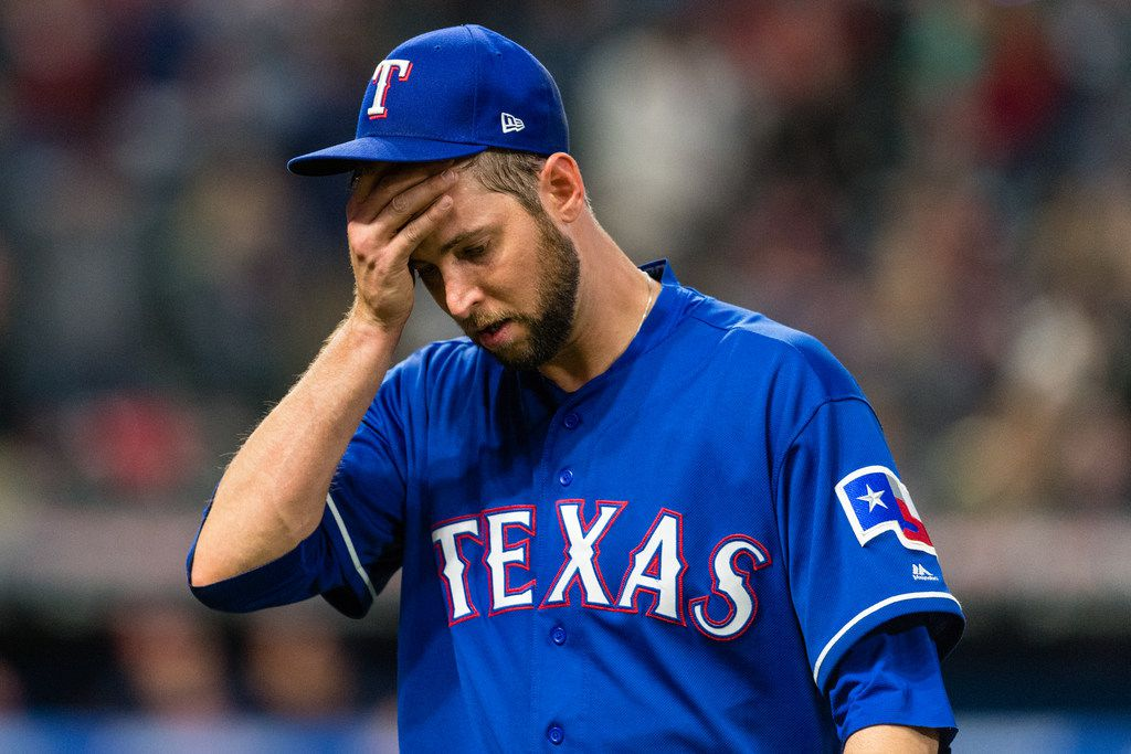 CLEVELAND, OH - APRIL 30: Pitcher Chris Martin #31 of the Texas Rangers reacts as he leaves the game after giving up the lead during the eighth inning against the Cleveland Indians at Progressive Field on April 30, 2018 in Cleveland, Ohio. (Photo by Jason Miller/Getty Images)