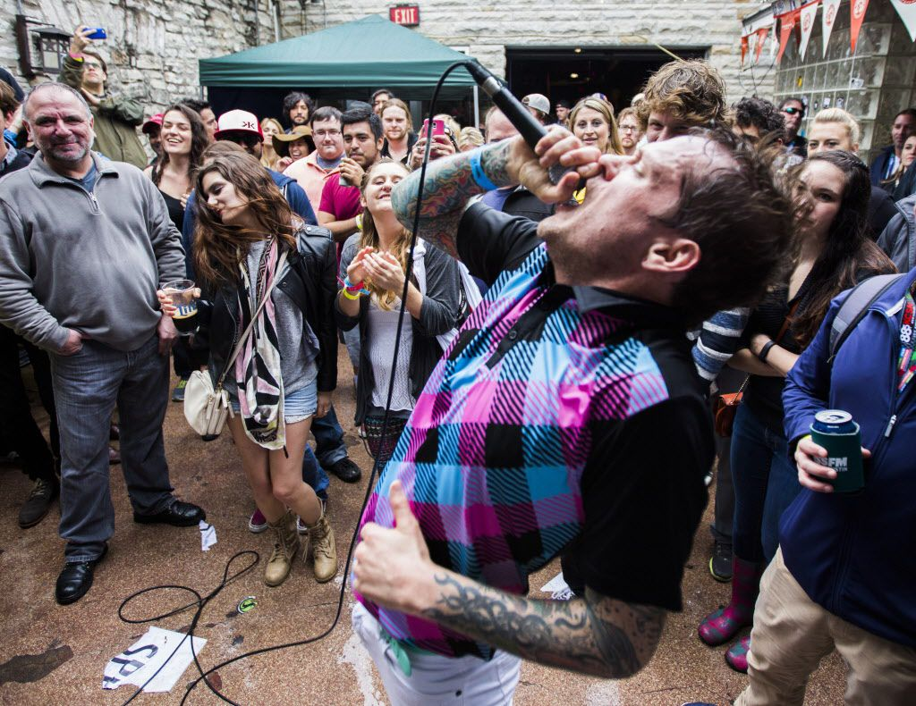 SPELLS lead singer Ben Roy of Denver, Colorado performs at The 512 on Sixth Street during the SXSW music festival on Saturday, March 21, 2015 in downtown Austin.