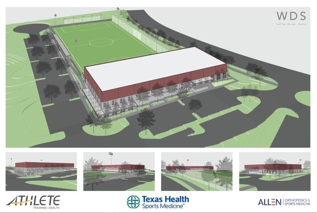 A rendering shows a $10 billion sports medicine facility at Texas Health Presbyterian Hospital Allen. The project is a collaboration among Texas Health Sports Medicine, Athlete Training and Health, and Allen Orthopedics and Sports Medicine.