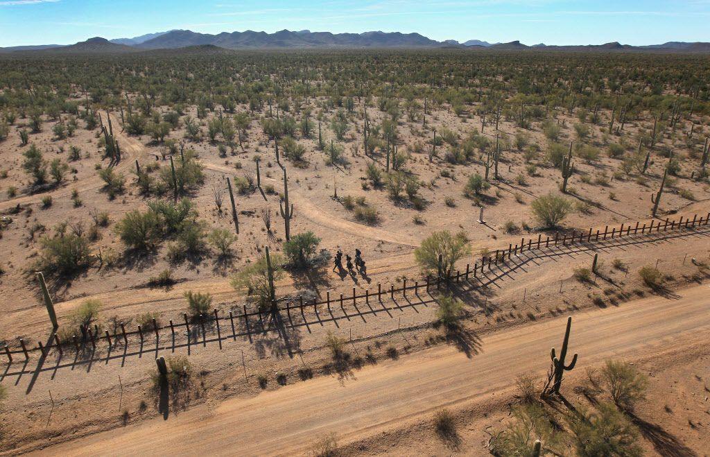 A remote desert area along the U.S.-Mexico border in Arizona.
