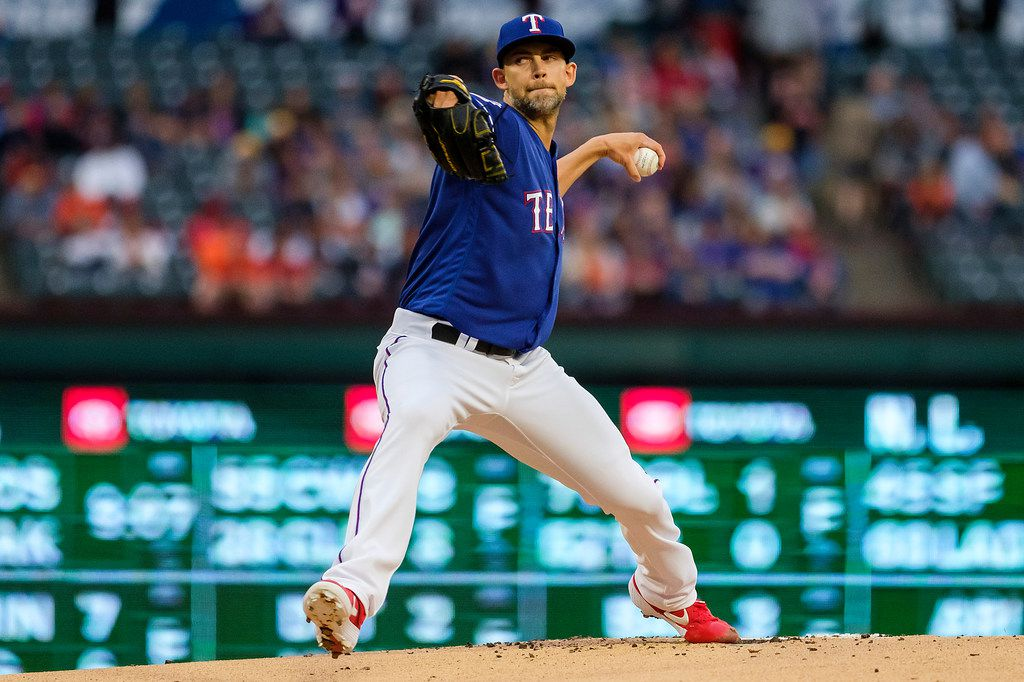 Texas Rangers pitcher Mike Minor throws during the first inning against the Houston Astros at Globe Life Park on Wednesday, April 3, 2019, in Arlington. (Smiley N. Pool/The Dallas Morning News)