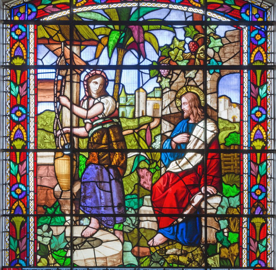 Jesus and Samaritans at well scene on the satined glass of St James's Church, Clerkenwell.