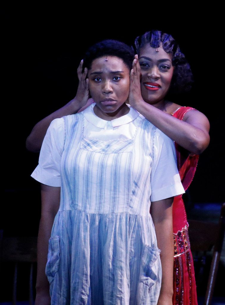 Adrianna Hicks as Celie (left) and Carla R. Stewart as Shug Avery perform in Dallas Summer Musicals The Color Purple at  Music Hall at Fair Park, Wednesday. The show runs through Feb.  4.