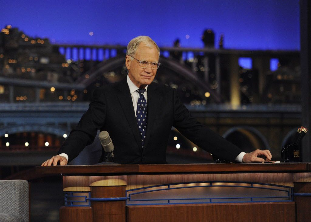"""David Letterman at the """"Late Show"""" desk during the final taping."""